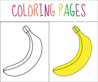 Coloring book page. Banana. Sketch and color version. Coloring for kids. Vector illustration Royalty Free Stock Images