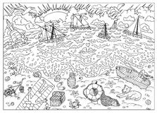 Coloring book page. Beach after storm Stock Photo