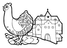Hen in the city, coloring book set royalty free illustration