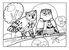 Owls family with a baby. Coloring book page,black and white version illustration.  Can be painting, coloring allover  all illustrating by kids regardless of age Royalty Free Stock Image