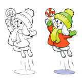 Coloring book or page. Bunny in a coat with candy. Royalty Free Stock Image