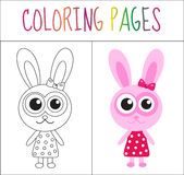 Coloring book page. Bunny, rabbit. Sketch and color version. Coloring for kids. Vector illustration.  stock illustration