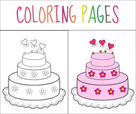 Coloring book page cake. Sketch and color version. Coloring for kids. Vector illustration.  vector illustration