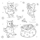 Coloring book or page. Cartoon Animals with Christmas gifts. Stock Photo