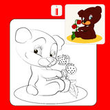 Coloring. Book or Page Cartoon Illustration of Bear and strawberry for Children Royalty Free Stock Images