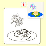Coloring. Book or Page Cartoon Illustration of beautiful water lily for Children Royalty Free Stock Photos