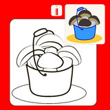 Coloring. Book or Page Cartoon Illustration of ceps in blue bucket Stock Photos