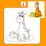 1015_2 coloring. Coloring Book or Page Cartoon Illustration of cheerful giraffe for Children Stock Photography