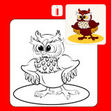 Coloring. Book or Page Cartoon Illustration of cute owl with fluffy ears. Vector Stock Photo