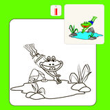 Coloring. Book or Page Cartoon Illustration of frog for Children Royalty Free Stock Photo