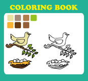 Coloring Book or Page Cartoon Illustration of funny bird with nest Royalty Free Stock Images