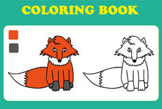 Coloring Book or Page Cartoon Illustration of Funny Fox Stock Images