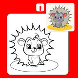 Coloring. Book or Page Cartoon Illustration of  funny hedgehog Stock Photos