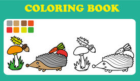 Coloring Book or Page Cartoon Illustration of Funny hedgehog Royalty Free Stock Photography