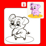 Coloring. Book or Page Cartoon Illustration of  funny pink pig Stock Images