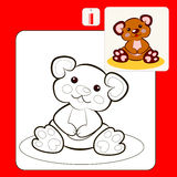 Coloring. Book or Page Cartoon Illustration of funny plush bear toy Royalty Free Stock Image