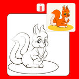 1115_30 coloring. Coloring Book or Page Cartoon Illustration of  funny squirrel Royalty Free Stock Photography