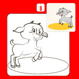 Coloring. Book or Page Cartoon Illustration of goat for Children Royalty Free Stock Images