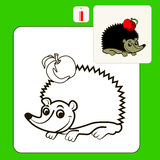 Coloring. Book or Page Cartoon Illustration of hedgehog with apple for Children Royalty Free Stock Photography