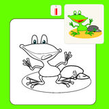 Coloring. Book or Page Cartoon Illustration of little frog and stone for Children Stock Photography