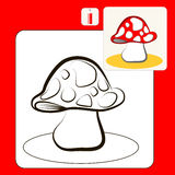 Coloring. Book or Page Cartoon Illustration of mushroom Royalty Free Stock Photography