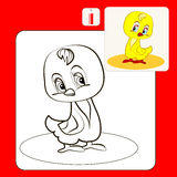 Coloring. Book or Page Cartoon Illustration of shy chicken Stock Images