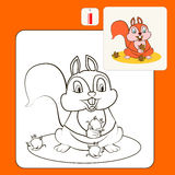 Coloring. Book or Page Cartoon Illustration of squirrel for Children Royalty Free Stock Photo