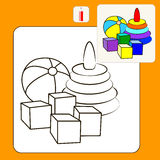 Coloring. Book or Page Cartoon Illustration of toys for Children Royalty Free Stock Photos