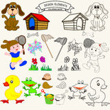 Coloring book. Or Page Cartoon vector Illustration set Stock Photos