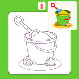Coloring. Book or Page Cartoon vector Illustration of Toy bucket and spade Royalty Free Stock Photography