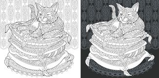 Coloring book page with cat. Coloring Page. Coloring Book. Colouring picture with Cat drawn in zentangle style. Antistress freehand sketch drawing. Vector vector illustration