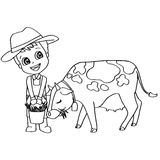 Coloring book or page child feeding cow vector Stock Photography