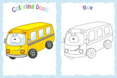 Coloring book page for  children with colorful bus  and sketch t. O color Royalty Free Stock Photography