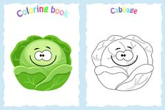 Coloring book page for children with colorful cabbage and sket. Ch to color. Preschool education. Vector illustration. Kids activity vector illustration