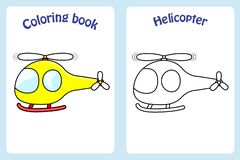 Coloring book page for children with colorful helicopter and s vector illustration
