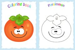 Coloring book page for children with colorful persimmon and sk. Etch to color. Preschool education. Vector illustration. Kids activity vector illustration