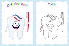Coloring book page for children with colorful tooth with brush royalty free illustration