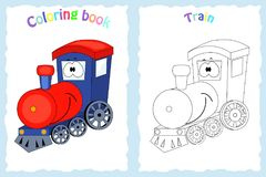 Coloring book page for children with colorful train and sketch royalty free illustration