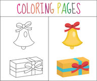 Coloring book page. Christmas bell, gift. Sketch and color version.  for kids. Vector illustration Stock Photography