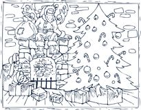 Coloring Book Christmas Tree, Fireplace and Gifts. Coloring Book Page. Christmas Composition with Santa, Christmas Tree, Fireplace and Gifts in the Room Stock Image
