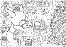 Coloring book page. Christmas cookies Royalty Free Stock Photo