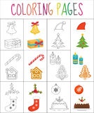 Coloring book page. Christmas set. Sketch and color version.  for kids. Vector illustration Stock Image
