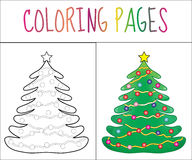 Coloring book page, Christmas Tree new year, christmas. Sketch and color version. Coloring for kids. Vector illustration Stock Photos