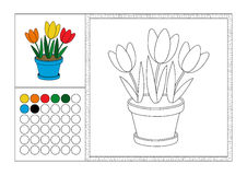 Coloring book page with colored template, decorative frame and color swatch - vector black and white contour picture - three Stock Images
