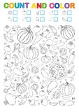 Coloring book page. Count and color. Printable worksheet for kindergarten and preschool. Exercises for study numbers. Bright Veget vector illustration