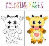 Coloring book page. Cow. Sketch and color version. Coloring for kids. Vector illustration Stock Image