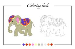 Coloring book page with cute elephant. Stock Photo