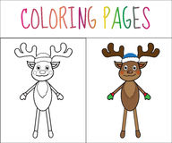 Coloring book page, deer, new year, Christmas. Sketch and color version. Coloring for kids. Vector illustration.  stock illustration
