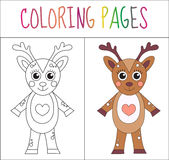 Coloring book page. Deer. Sketch and color version. Coloring for kids. Vector illustration.  stock illustration