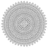 Coloring book page with detailed round pattern stock photo